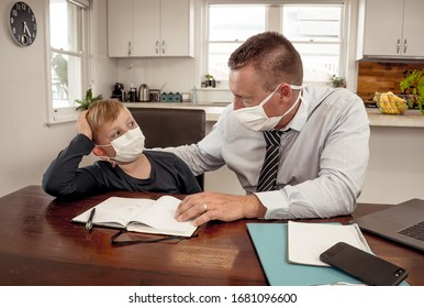 Coronavirus Outbreak school shutdowns. Stressed parent coping with remote work and homeschooling worried about COVID-19 pandemic. Father and son with mask in quarantine working and learning from home. - Shutterstock ID 1681096600
