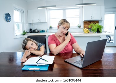 Coronavirus Outbreak schools and offices closing. Stressed mother coping with remote work and bored daughter. COVID-19 shutdowns and quarantines forces parents to work from home and homeschooling. - Shutterstock ID 1681096144