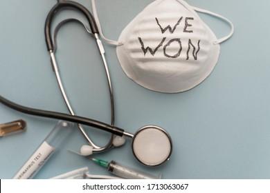 Coronavirus is over we won concept. Medicine tools. We are safe. Coronavirus ended. We won. No more quarantine. Breathe deep. Take off the mask. Freedom.
