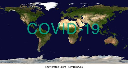 Coronavirus pandemic on world map. COVID-19 infection concept. Elements of this image furnished by NASA.
