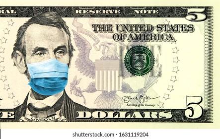 Coronavirus panic in United States. Quarantine and global recession. 5 American dollar banknote with a face mask against infection. Global economy hit by corona virus pandemic. Montage. Concept