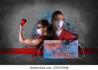 Coronavirus photo composite of healthcare worker using PPE protective equipment. Original abstract photo composite.