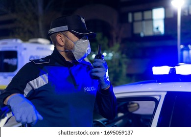 coronavirus. Police using protection methods to avoid contagion by coronavirus
