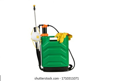 Coronavirus prevention, Disinfection service. Disinfectant canister with medical mask and protective gloves. Garden knapsack, pressure sprayer isolated on white background with copy space