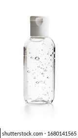 Coronavirus prevention hand sanitizer gel in bottle. Hand disinfectant gel isolated on white background.