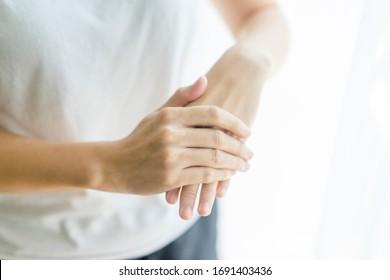 Coronavirus prevention medical hand sanitizer gel for hand hygiene corona virus covid-19 protection.Hand sanitizer alcohol gel rub clean hands hygiene protect from virus covid19 outbreak.Step by step.