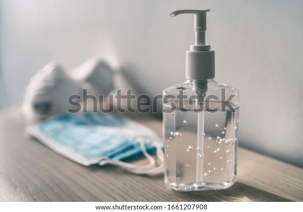 Coronavirus prevention medical surgical masks and hand sanitizer gel for hand hygiene corona virus protection.