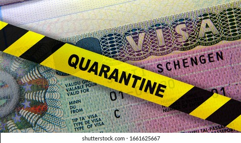 Coronavirus quarantine in Europe. Concept. Schengen visa in passport and a yellow quarantine tape. Travel in EU is affected by corona virus outbreak and pandemic fears. Digital montage.