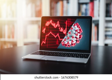 The coronavirus sinks the global stock exchanges. Desktop display showing the collapse of the stock market due to the global Coronavirus virus crisis. Novel coronavirus 2019 COVID-19 theme.