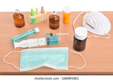 Coronavirus testing and research equipment on a white background