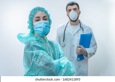 Coronavirus. Thank you doctors and nurses working in the hospitals and fighting the coronavirus. Doctors are heroes. Doctors in the protective suits and masks looking for a cure for the disease.