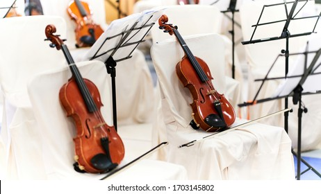 Coronavirus: Two Violins Ready for Concert. White Background Inundated by Light, Symbolizing Silence Before a Classical Music Concert, or Events Canceled Worldwide in 2020 Because of Covid-19 Spread