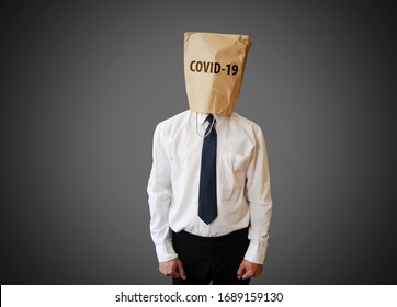 Coronavirus unemployed with paper bag on the head