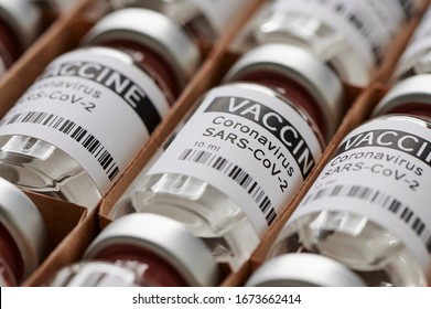 coronavirus vaccine. sars-cov-2 / COVID-19. Some ampoules with ncov-2019 vaccine in a box. to fight the coronavirus pandemic.