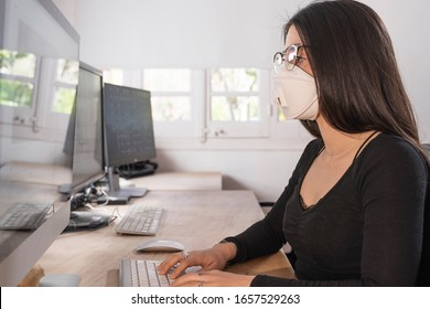 Coronavirus. Woman at the office sick with mask for corona virus. Business women wear masks to protect and take care of their health. Home working with computer. Working from home.