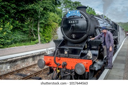 Corpach, Scotland, United Kingdom - July 20, 2016 : The Jacobite being inspected before steaming though the highland on July 20, 2016