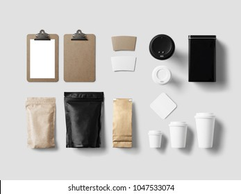 corporate branding identity mock up template for coffee shop and restaurant with card, menu, packaging