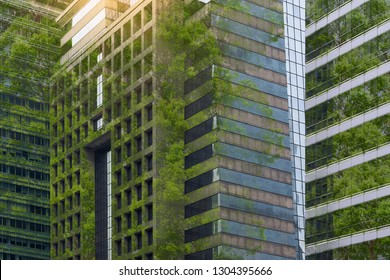 Corporate building in city plants growing Sustainability Sustainable, green energy