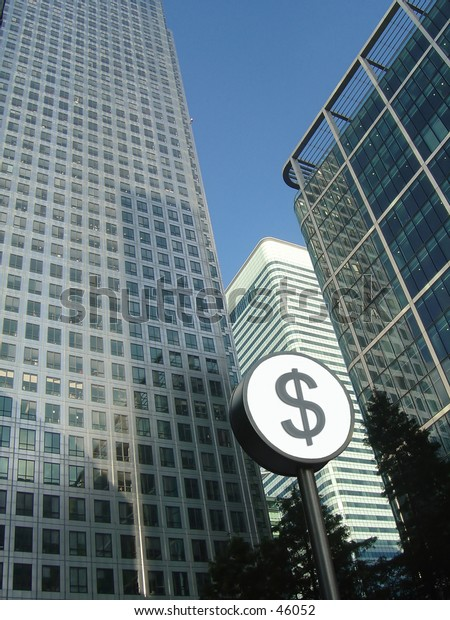Corporate buildings with Dollar sign in front