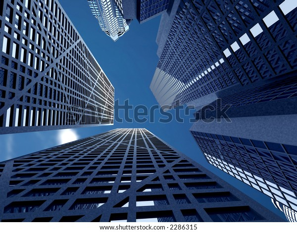 corporate buildings in perspective made in a 3d
