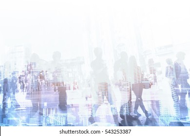 corporate business company background, abstract people walking near modern office buildings