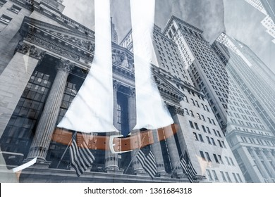 Corporate business, finance, stock market and economic prosperity conceptul collage. Businessman wearing fashionable classic navy blue suit against new york stock exchange.