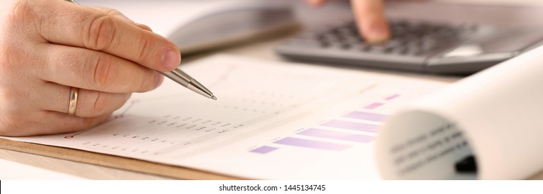 Corporate Business Financing Accounting Concept. Businessman Calculating Real Estate Investment. Professional Accountant Manager at Workplace. Man Bookkeeper Analyzes Economy Income, Account Tax