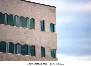 corporate business office building corner brick window