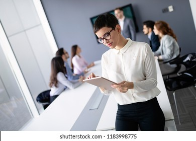 Corporate business team and manager in a meeting