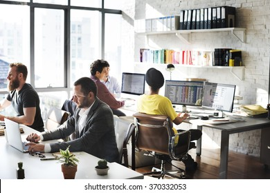 Corporate Business Team Working Busy Concept