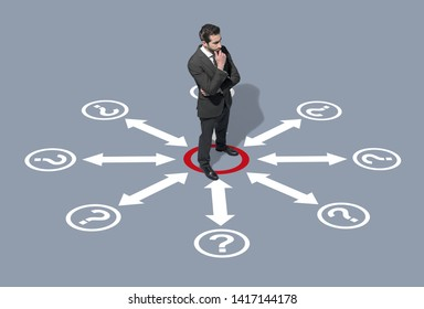 Corporate businessman thinking about business strategies, he is surrounded by arrows and question marks