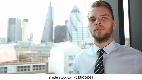 Corporate Businessperson Looking Camera Concept Presentation London City Center