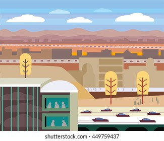 Corporate City Desert Landscape with Highway and Cars