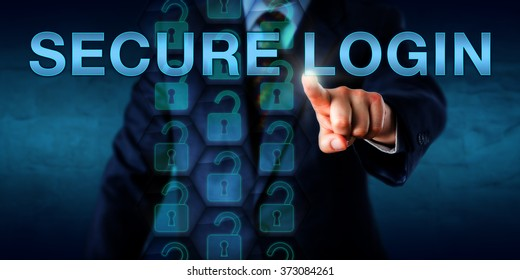 Corporate client pressing SECURE LOGIN onscreen. A stream of open virtual lock icons embedded in a hexagonal structure do represent a secure log-in process. Security technology concept. Copy space.