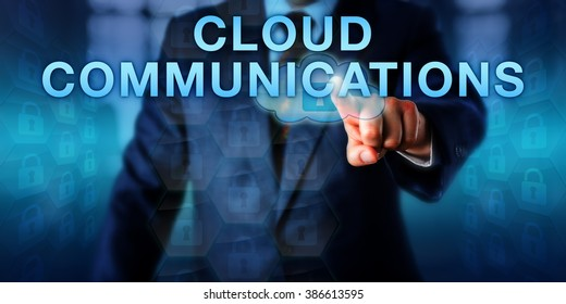 Corporate client is pushing CLOUD COMMUNICATIONS on a touch screen. Business model and information technology concept for data communications hosted by external third-party service providers.