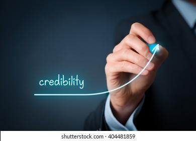 Corporate credibility improvement concept. Businessman (o PR specialist) plan to improve credibility of his company.