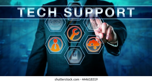 Corporate customer is pushing TECH SUPPORT on an interactive virtual touch screen interface. Business metaphor involving help desk, remote desktop, outsourcing and customer experience management.