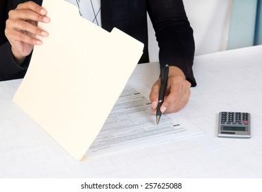 Corporate employee working of company accounts