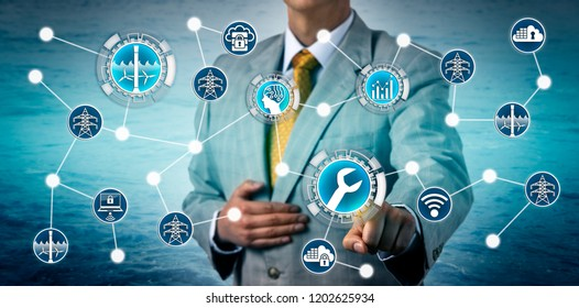 Corporate executive activating AI aided predictive maintenance on a tidal energy plant via the industrial internet of things. Industry and technology concept for energy management, power generation.