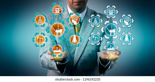 Corporate executive presenting a digital twin of an offshore oil drilling platform. Industry and technology concept for virtual copy, digital transformation, virtualization and industrial internet.