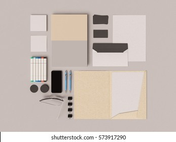 Corporate Identity. Branding Mock Up. Office supplies, Gadgets. 3D illustration. High quality