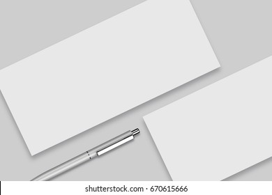 Corporate Identity MockUp rectangular Envelope and Silver Pen, Isolated