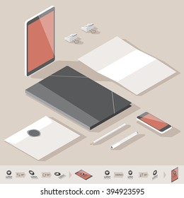 Corporate identity mock-up template. Flat isometric design.