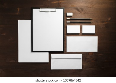 Corporate identity template. Blank stationery mock up on wooden background. Flat lay.