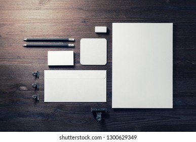 Corporate identity template. Branding mock up. Blank business stationery mock-up on wooden background. Flat lay.