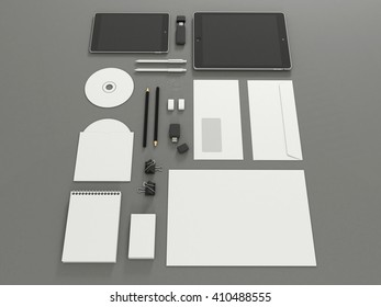 Corporate identity template set with tablet. Business stationery mock-up with white blank. Branding design. Isolated on background. Letter envelope, card, catalog, pen, pencil, paper. 3d illustration