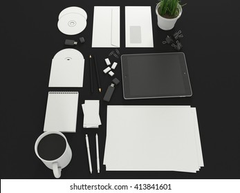 Corporate identity template set with tablet. Business stationery mock up with white blank. Branding design. Isolated on background. Letter envelope, card, catalog, pen, pencil, paper. 3d illustration