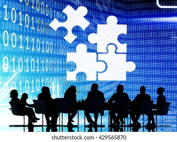 Corporate Jigsaw Puzzle Unity Team Collabration Concept