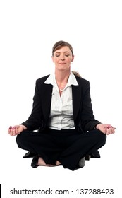 Corporate lady doing meditation over white background.