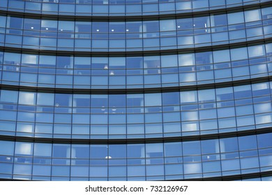 Corporate office building in Milan - detail in blue tones, business concept.